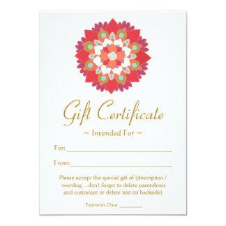 Healing Arts  Red Lotus Flower Gift Certificate 11 Cm X 16 Cm Invitation Card
