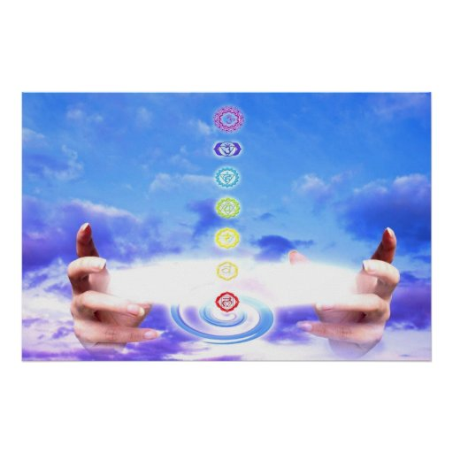 Healing hands, energy, chakra symbols, blue print