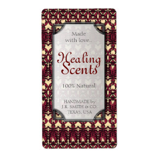 Healing Scents Plum Red Arabesque Bottle Labels