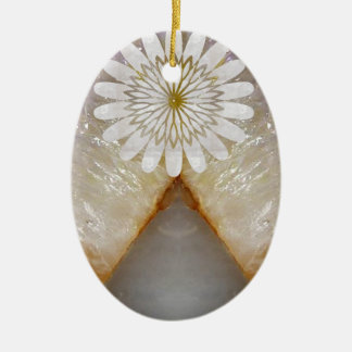 HealingSTONE Crystal Marble Vintage Temple Art Ceramic Oval Decoration