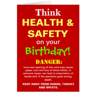 Health and Safety Funny Birthday Joke Card