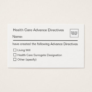 Health Care Advance Directives Card