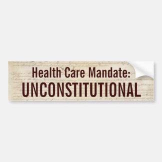 Health Care Mandate: Unconstitutional Car Bumper Sticker