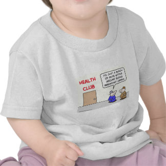 health club eating breakfast cereal shirts