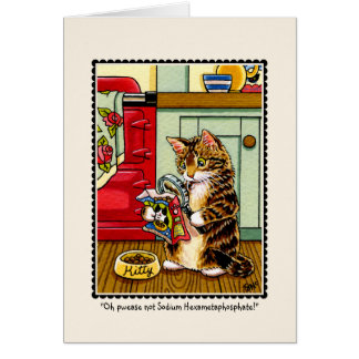 Health Conscious Kitty Cat Greetings Card