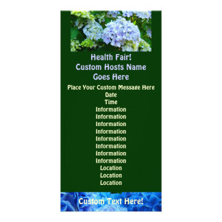 Health Fair! Custom Event Cards Blue Green Garden Personalized Photo Card
