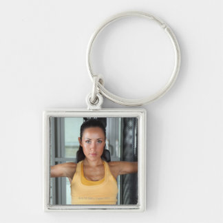 Health, gym work and fitness key chain