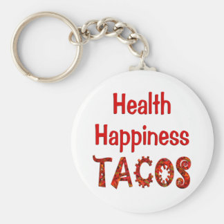 Health Happiness Tacos Basic Round Button Key Ring