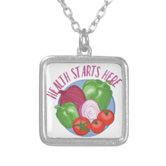 Health Starts Here Silver Plated Necklace