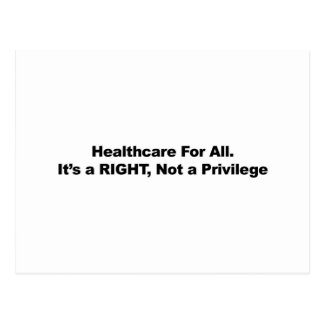 Healthcare for All, A Right, Not a Privilege Postcard