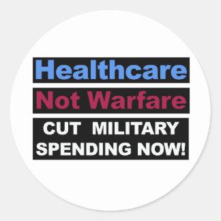Healthcare Not Warfare Classic Round Sticker