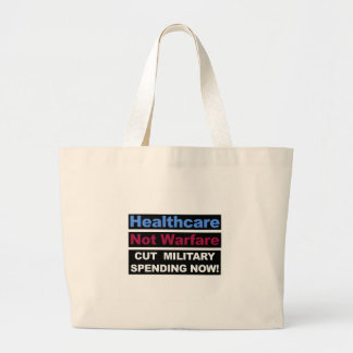 Healthcare Not Warfare Large Tote Bag