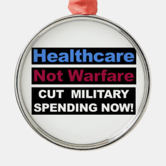 Healthcare Not Warfare Metal Ornament