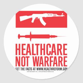 Healthcare NOT Warfare Round Sticker