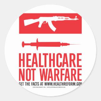 Healthcare NOT Warfare Round Sticker