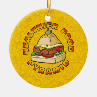 Healthier Food Pyramid Round Ceramic Decoration