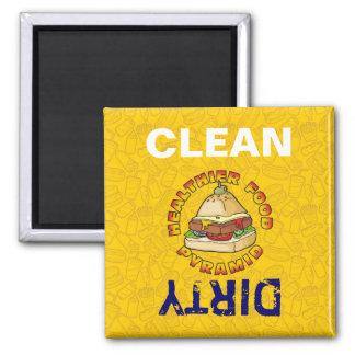 Healthier Food Pyramid Square Magnet