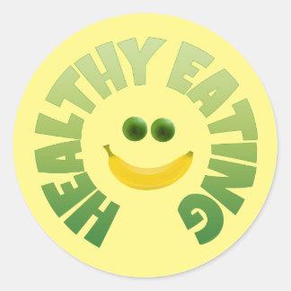 Healthy Eating Classic Round Sticker, Glossy Round Sticker