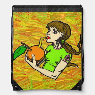 Healthy Eating Girl Drinking Orange Juice Backpacks