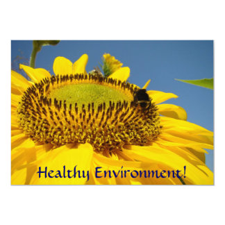 "Healthy Environment! Event invitations Sunflowers 5"" X 7"" Invitation Card"