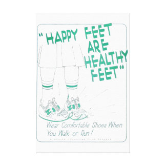 Healthy Feet are Happy Feet vintage Print Canvas Prints