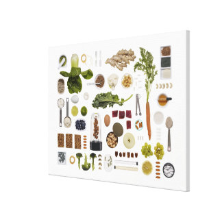 Healthy food grid on a white background. gallery wrapped canvas