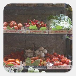 healthy fresh produce square sticker