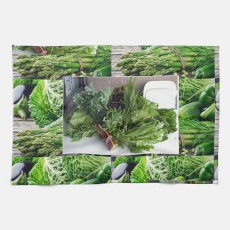 Healthy green leafy vegetable salads chefs cuisine kitchen towel