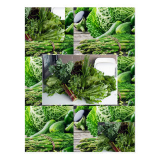 Healthy green leafy vegetable salads chefs cuisine postcard