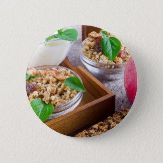 Healthy ingredients for breakfast 6 cm round badge