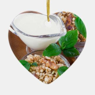Healthy ingredients for breakfast ceramic heart decoration