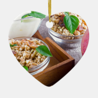 Healthy ingredients for breakfast ceramic heart decoration