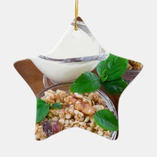 Healthy ingredients for breakfast ceramic ornament