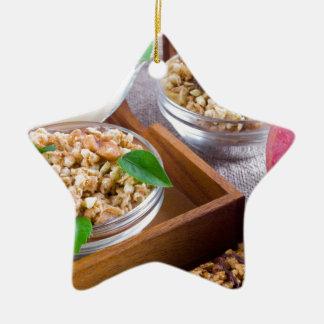 Healthy ingredients for breakfast ceramic star decoration