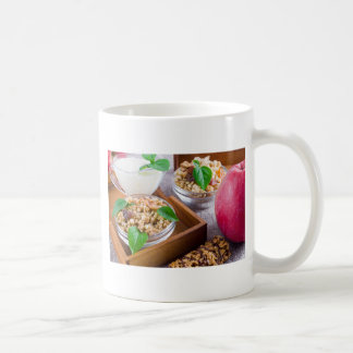 Healthy ingredients for breakfast coffee mug