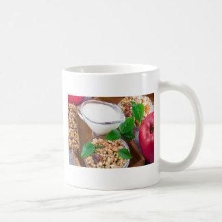 Healthy ingredients for breakfast coffee mug
