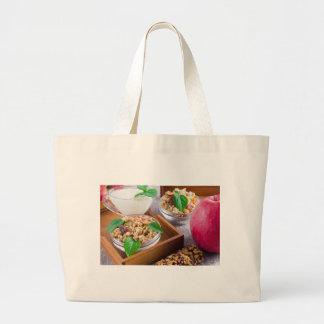 Healthy ingredients for breakfast large tote bag