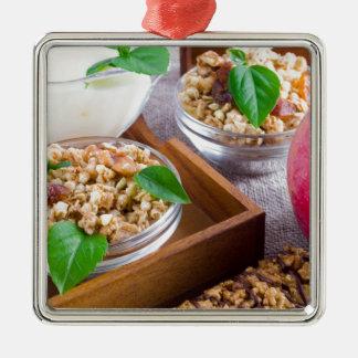 Healthy ingredients for breakfast metal ornament