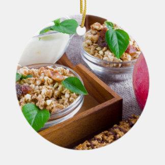 Healthy ingredients for breakfast round ceramic decoration