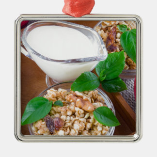 Healthy ingredients for breakfast Silver-Colored square decoration