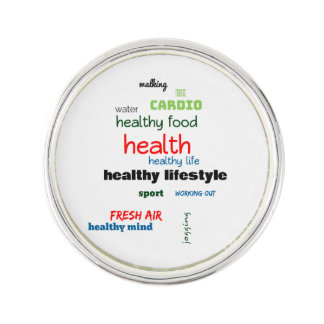 Healthy Lifestyle Word Cloud Lapel Pin