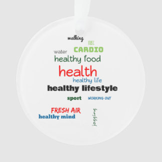 Healthy Lifestyle Word Cloud Ornament