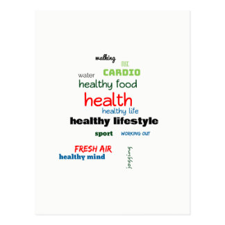 Healthy Lifestyle Word Cloud Postcard