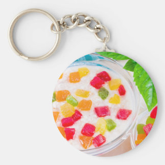 Healthy oatmeal close-up with colorful candied key ring