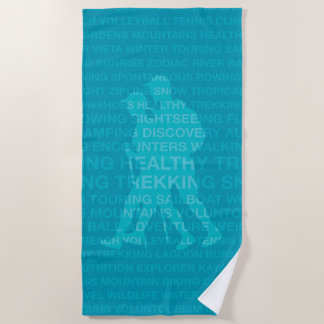 Healthy Trekking Teal and Turquoise Beach Towel