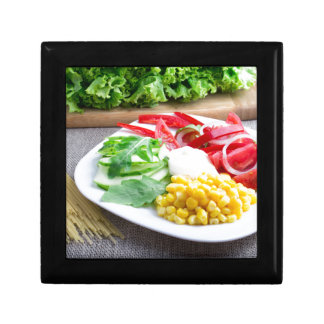 Healthy vegetarian dish of fresh vegetables gift box