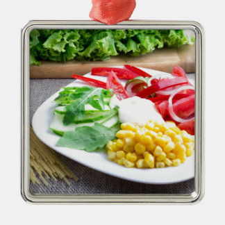 Healthy vegetarian dish of fresh vegetables Silver-Colored square decoration