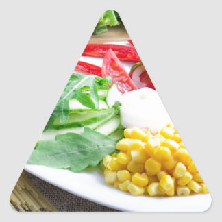 Healthy vegetarian dish of fresh vegetables triangle sticker