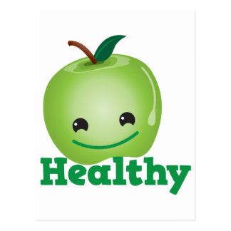 Healthy with green kawaii apple with a cute face postcard
