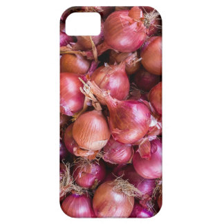 Heap of red onions on market iPhone 5 case